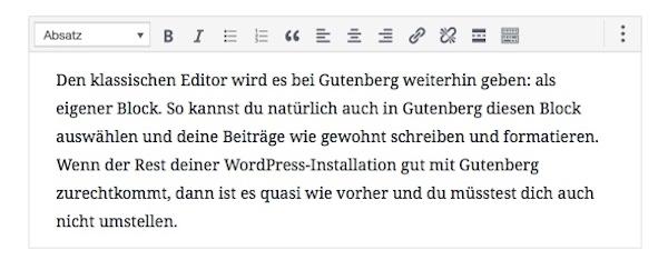 wordpress classic block